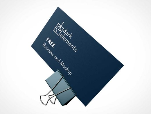 Business Card & Binder Clip Combo PSD Mockup