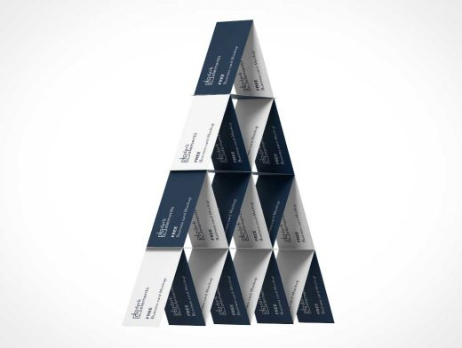 Business Card House Of Cards Pyramid Stack PSD Mockup