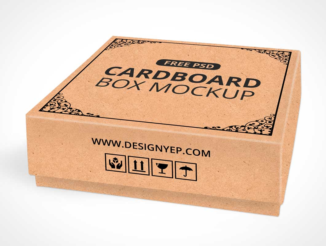 Cardboard Square Shipping Box PSD Mockup