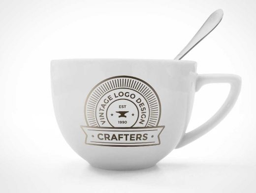 Ceramic Coffee Cup & Spoon PSD Mockup