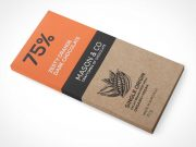 Chocolate Bar Box Packaging Front & Side Views PSD Mockup