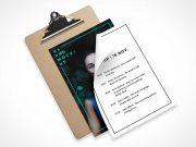 Clipboard & A4 Paper Sheets PSD Mockup