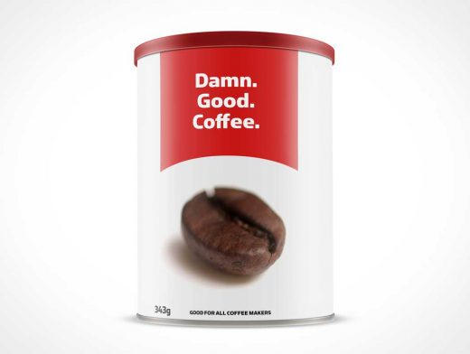 Coffee Canister Front Label PSD Mockup