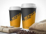 Coffee Cups & Burlap Beans Sack PSD Mockup