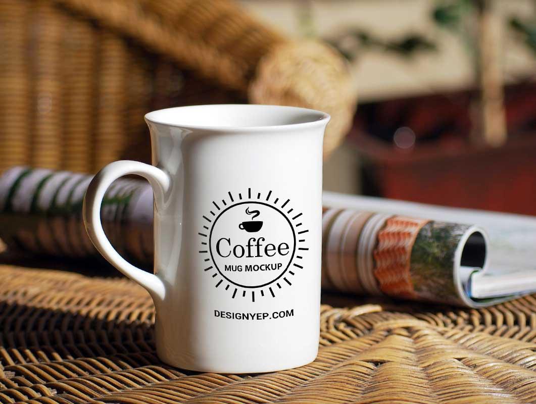 Coffee Mug With Curved Rim & Morning Paper PSD Mockup