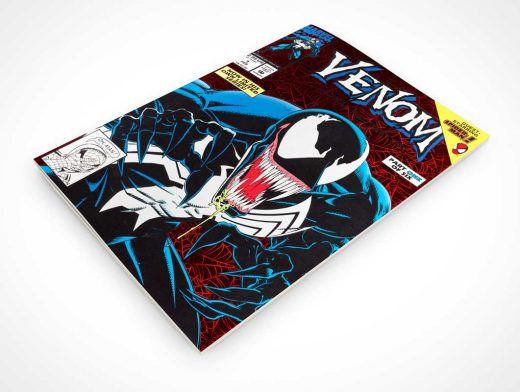 Comicbook Front Cover Page Above Rotated View PSD Mockup
