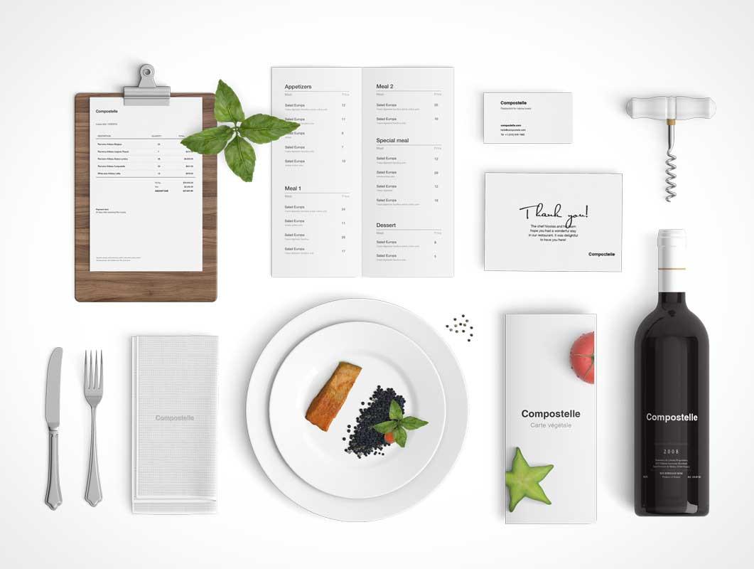 Culinary Restaurant Branding Scene Builder PSD Mockup