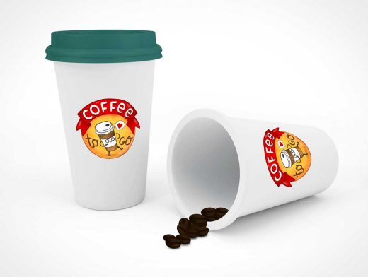 Cup Of Coffee & Spilled Beans PSD Mockup