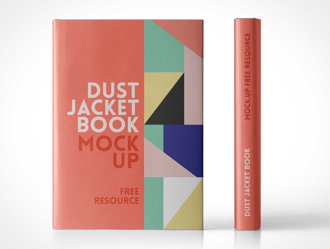 Dust Jacket Hardcover Book Spine & Front Cover PSD Mockup
