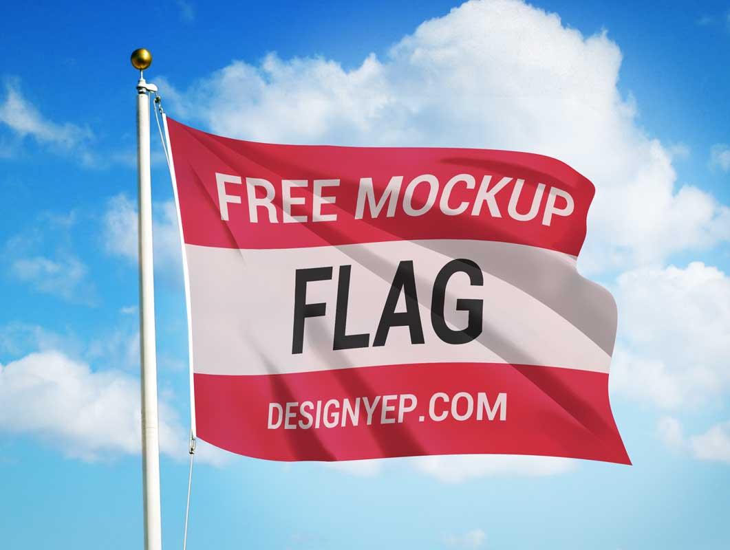 Flag & Pole Against Blue Sky PSD Mockup