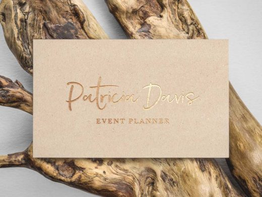 Gold Foil Business Card Made Of Recycled Material PSD Mockup