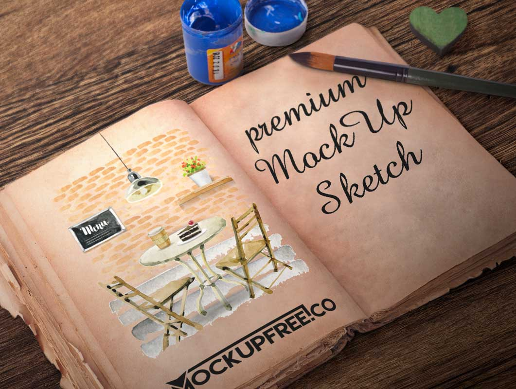 Hardcover Sketchbook & Watercolor Scene PSD Mockup