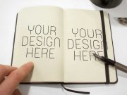Hardcover Sketching Notebook Inside Left & Right Pages PSD Mockup