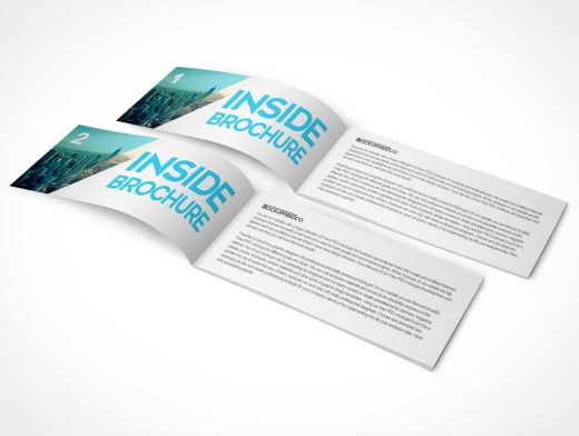 Landscape Brochure Booklet Cover & Inside Pages PSD Mockup
