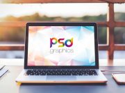 Macbook Pro Outdoor Office Backdrop PSD Mockup