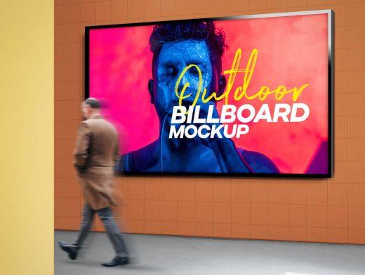 Mall Store Hallway Billboard PSD Mockup