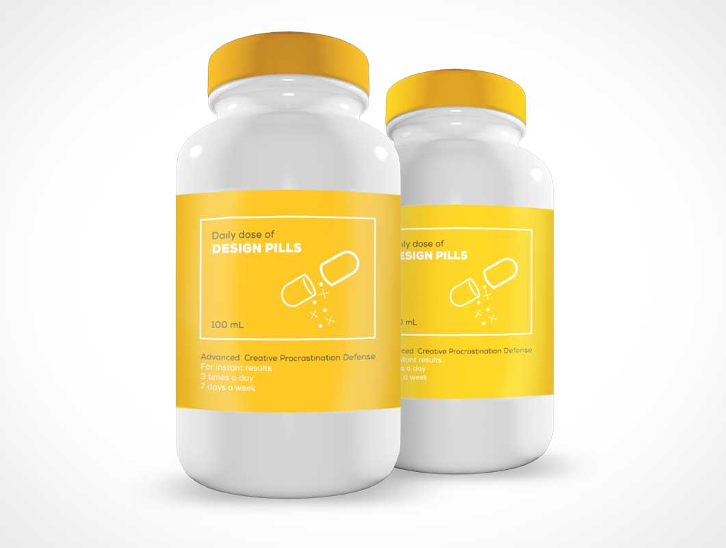 Medicin Pill Bottle Container Front Label PSD Mockup