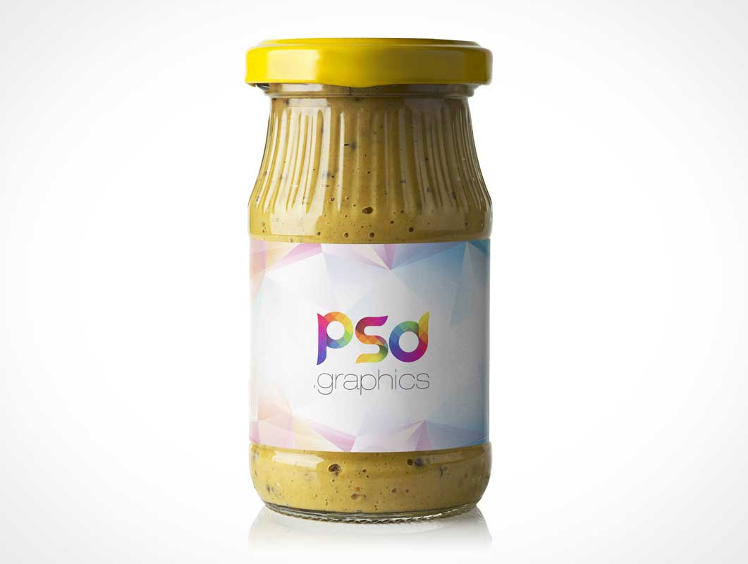 Mustard Jar Sealed Glass Bottle Packaging & Label PSD Mockup