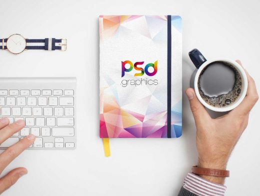 Notebook Front Cover Closed Top View PSD Mockup