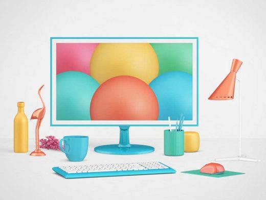 Office Scene Monitor & Keyboard PSD Mockup