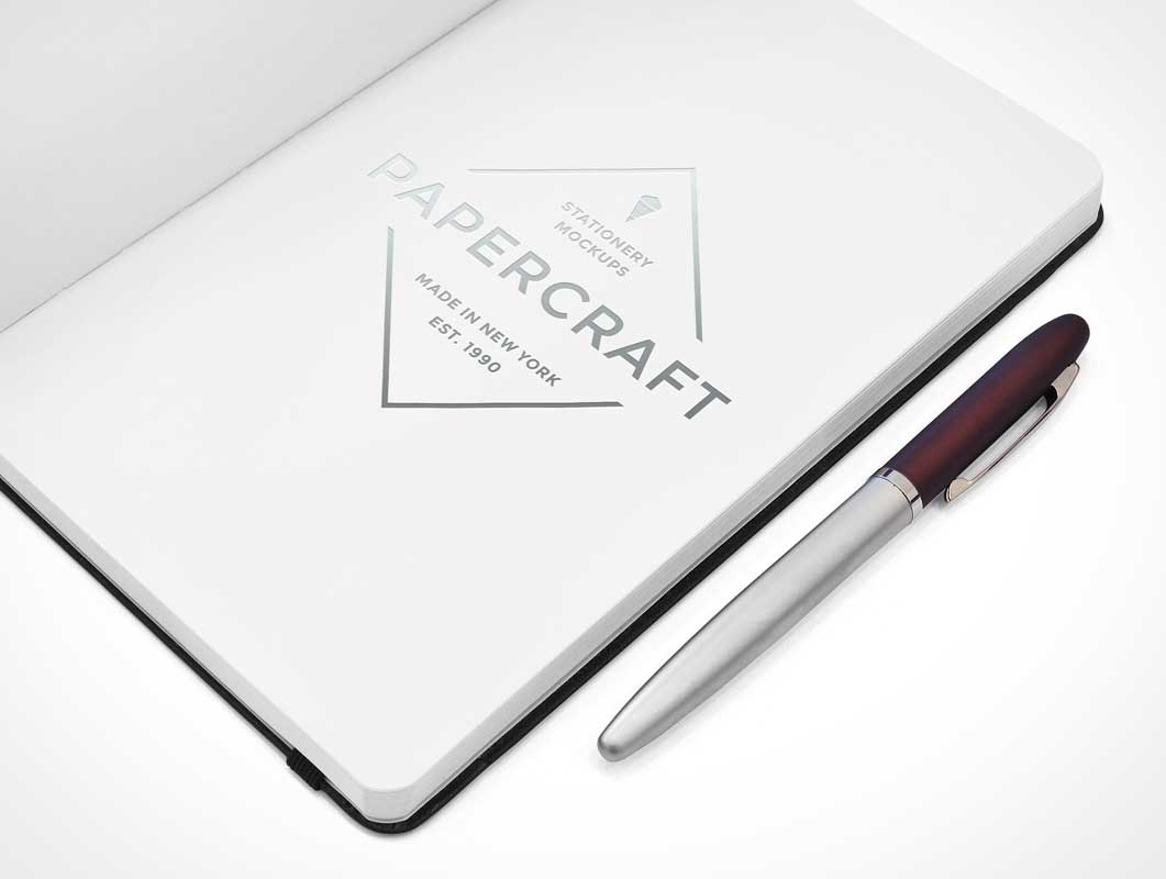 Open Notebook Right Page & Ink Pen PSD Mockup