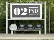 Outdoor Bus Stop Billboard Advertising PSD Mockup