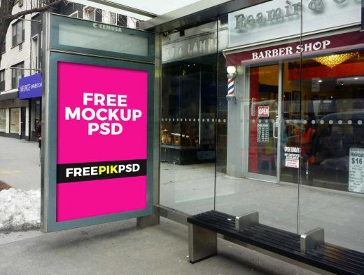 Outdoor Poster Billboard At Bus Stop PSD Mockup