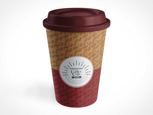 Paper Coffee Cup Duo-Tone PSD Mockup
