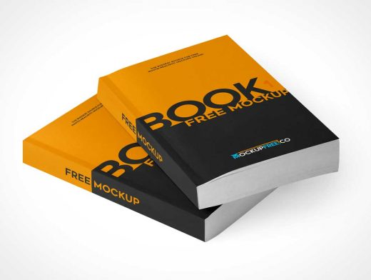 Paperback Softcover Books Stacked Covers & Inside Pages PSD Mockup