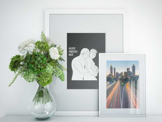 Photo Frame Set & Glass Vase Composition PSD Mockup