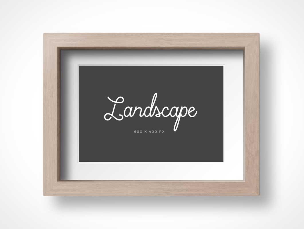 Picture Photo Frame Portrait & Landscape Orientation PSD Mockup