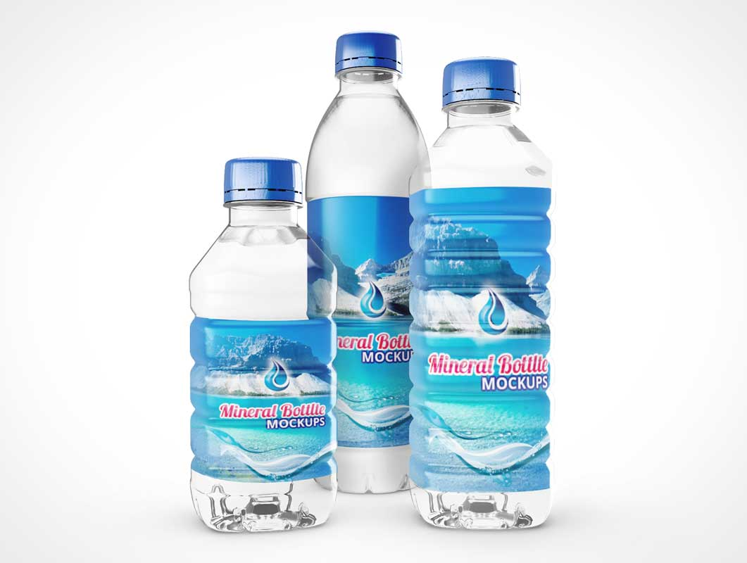 Plastic Mineral Water Bottles PSD Mockup
