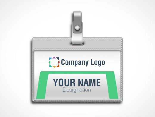 Plasticized ID Badge & Lanyard Clip PSD Mockup