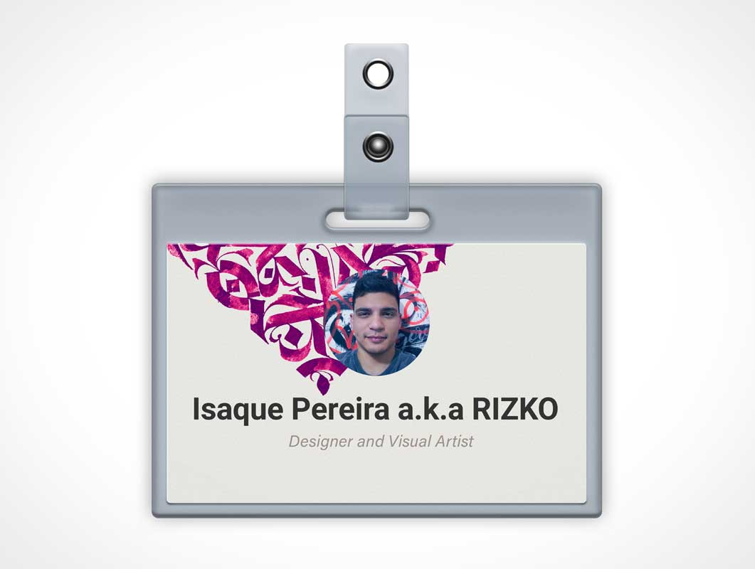 Plasticized Identity Card With Lanyard Slot PSD Mockup