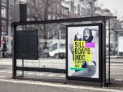 Portrait Billboard Poster At Bust Stop PSD Mockup