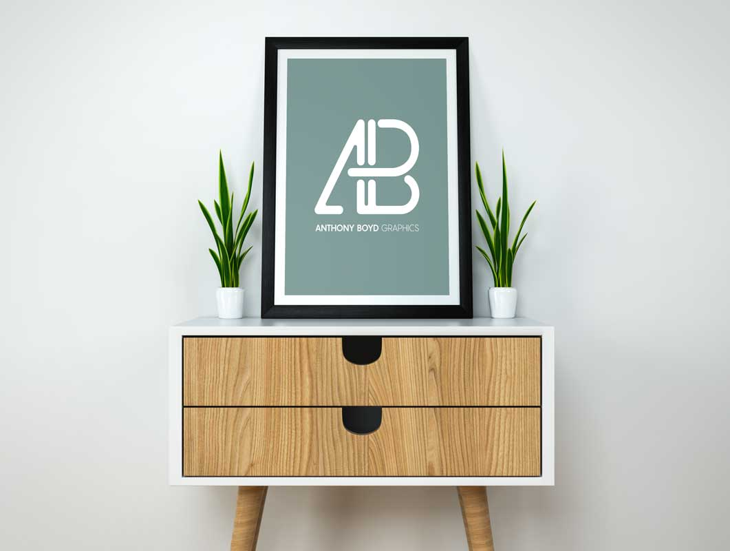 Poster & Frame Over Credenza With Drawers PSD Mockup
