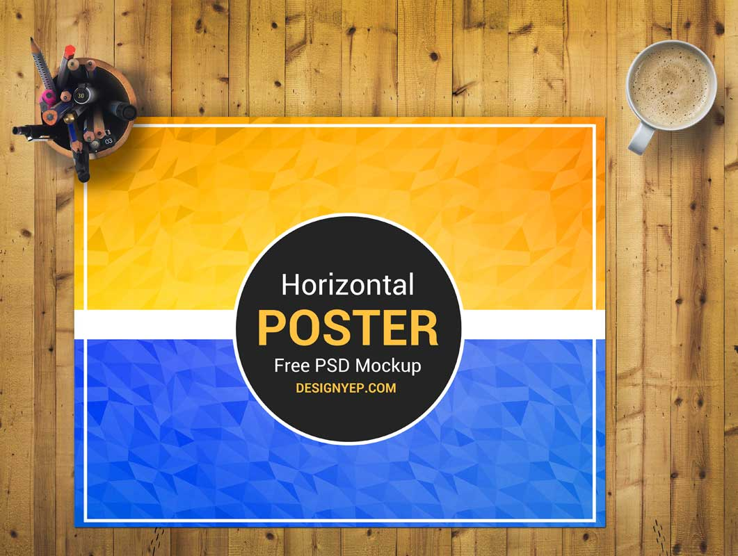 Poster Sheet Front View Home Office PSD Mockup