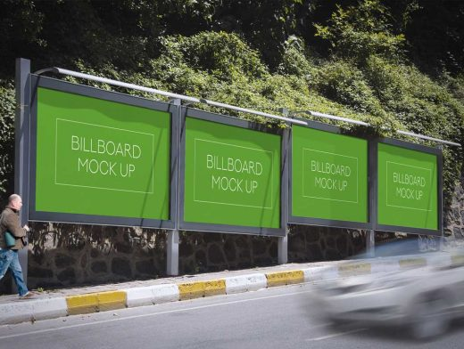 Roadside Landscape Billboards PSD Mockup