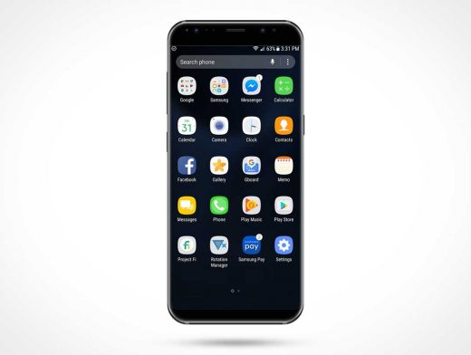 Samsung Galaxy S8 Front Side View PSD Mockup