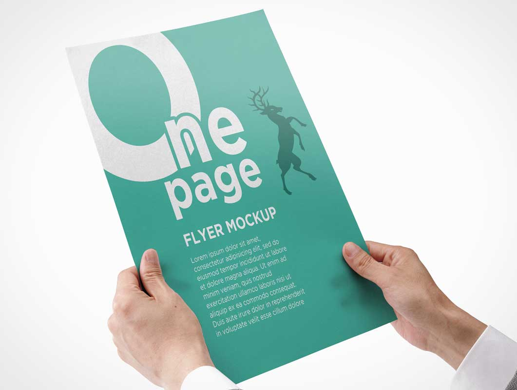 Single Flyer In Hand Front Page Psd Mockup Psd Mockups