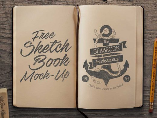 Sketchbook Top View Left & Right Pages PSD Mockup