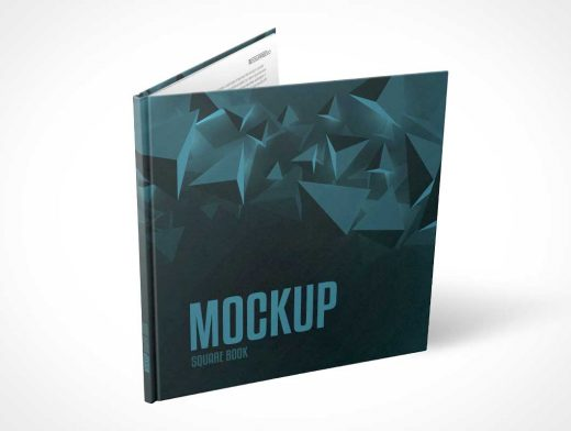 Square Hardcover Book Front Cover Standing Partially Open PSD Mockup