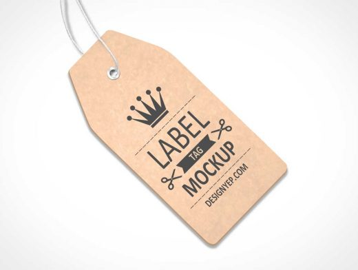 Tag Label With Grommet & String On Flat Surface PSD Mockup