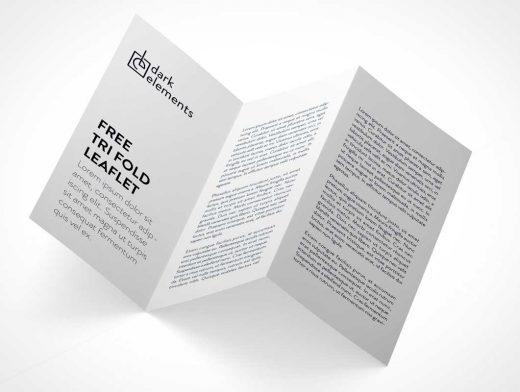 Tri-Fold Brochure Leaflet Isometric Panels PSD Mockup