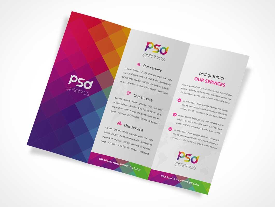 Tri fold psd mockups for Dl brochure template