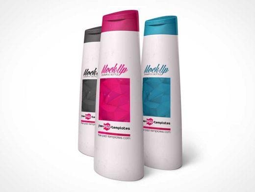 Trio Standing Shampoo Bottles PSD Mockup