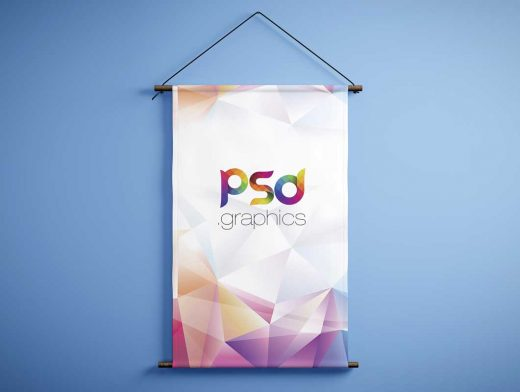 Wall Hung Fabric Vertical Banner & String PSD Mockup