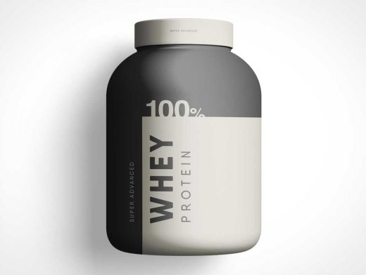 Whey Protein Container Jar Product Label PSD Mockup