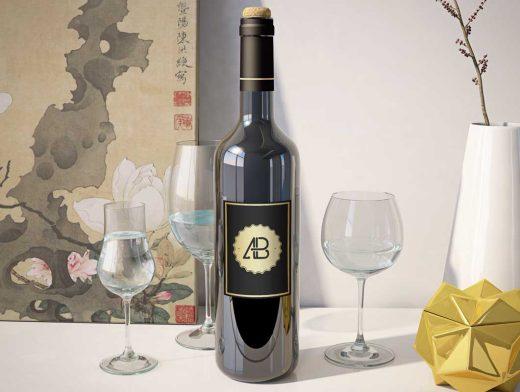 Wine Bottle & Glasses Photo PSD Mockup