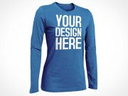Woman's Long Sleeved Shirt Front PSD Mockup
